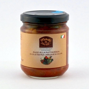 Puttanesca sauce in extra virgin olive oil